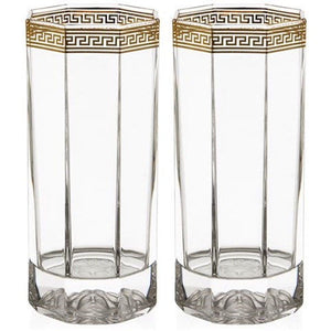 VERSACE MEDUSA WHISKEY LONG D'OR GLASSES SET OF 2