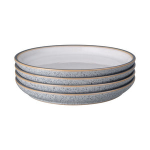 DENBY STUDIO GREY MEDIUM PLATE WHITE 21CM SET OF 4