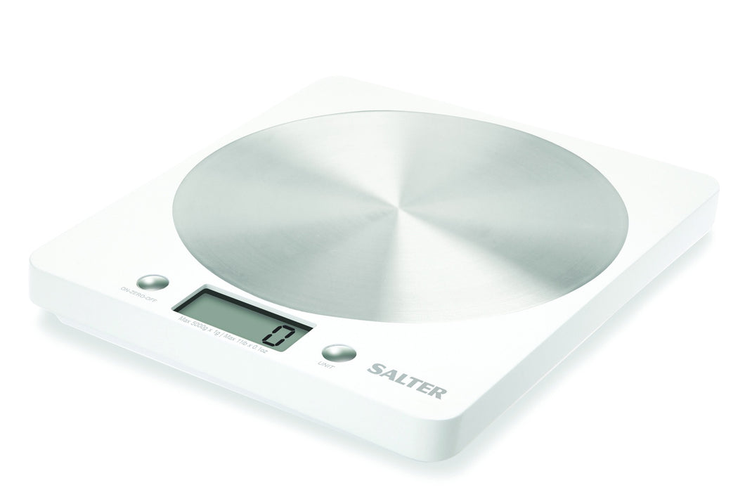 SALTER ELECTRONIC KITCHEN SCALE WHITE & STAINLESS STEEL DISC