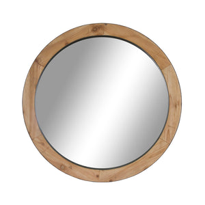 WOODEN ROUND MIRROR 800MM WF