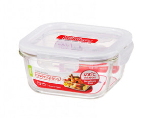 LOCK & LOCK SQUARE GLASS CONTAINER WITH LID 500ML