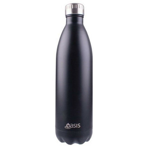 OASIS STAINLESS STEEL DRINK BOTTLE 1L MATT BLACK