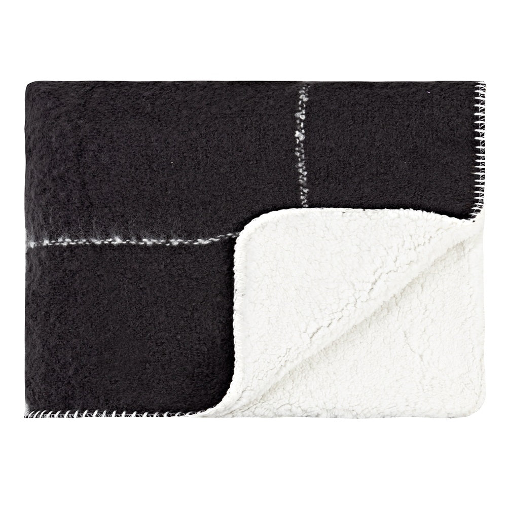 LINENS & MORE SHERPA THROW GRID BLACK