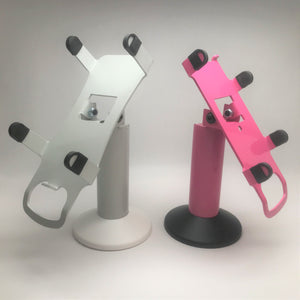 Custom Colored Swivel Metal Stand Shown in Pink, Gray, Blue