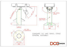 Load image into Gallery viewer, First Data FD130/FD150 Low Profile Swivel and Tilt Freestanding Metal Stand with Square Plate - DCCSUPPLY.COM