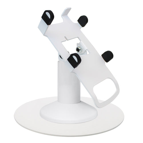Dejavoo Z3/Z6 Low Profile White Swivel and Tilt Freestanding Metal Stand with Round Plate - DCCSUPPLY.COM