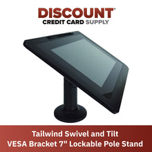 "Load image into Gallery viewer, VESA Bracket with 7"" Key Locking Compact Pole Mount Terminal Stand - DCCSUPPLY.COM"