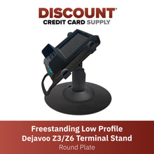 Load image into Gallery viewer, Dejavoo Z3/Z6 Low Profile Black Swivel and Tilt Freestanding Metal Stand with Round Plate