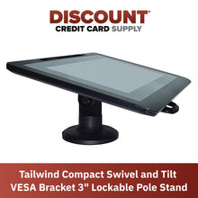 "Load image into Gallery viewer, VESA Bracket with 3"" Key Locking Compact Pole Mount Terminal Stand - DCCSUPPLY.COM"