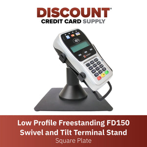 First Data FD35/ FD40 Low Profile Swivel and Tilt Freestanding Metal Stand with Square Plate - DCCSUPPLY.COM