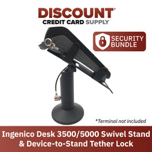 "Load image into Gallery viewer, Ingenico Desk/3500/5000 Swivel and Tilt Stand with Device to Stand Security Tether Lock, Two Keys 8"" (Black)"
