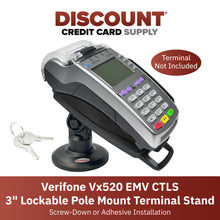 "Load image into Gallery viewer, Verifone Vx520 EMV CTLS 3"" Lockable Compact Pole Mount Terminal Stand"