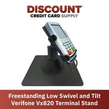 Load image into Gallery viewer, Verifone Vx820 Low Profile Swivel and Tilt Freestanding Metal Stand with Square Plate - DCCSUPPLY.COM