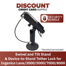 "Load image into Gallery viewer, Ingenico Lane/3000/5000/7000/8000 Swivel and Tilt Terminal Stand with Device to Stand Security Tether Lock, Two Keys 8"" (Black)"