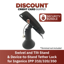 "Load image into Gallery viewer, Ingenico IPP310/315/320/350 Swivel and Tilt Terminal Stand with Device to Stand Security Tether Lock, Two Keys 8"" (Black)"