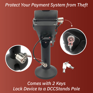 "Ingenico Desk/3500/5000 Swivel and Tilt Stand with Device to Stand Security Tether Lock, Two Keys 8"" (Black)"