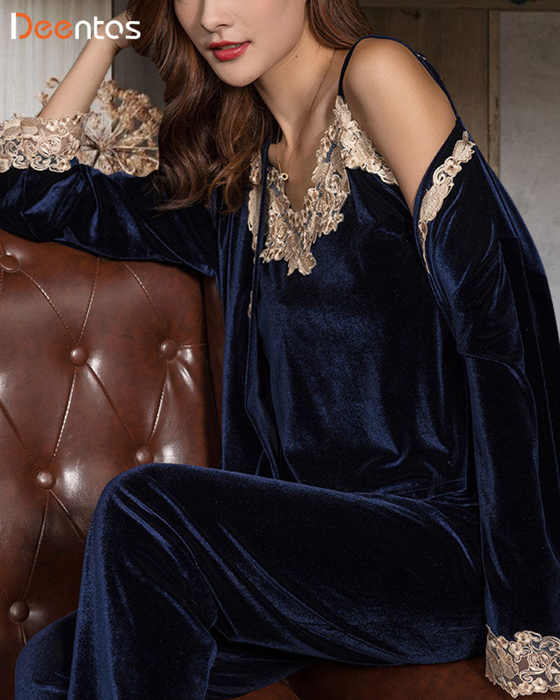 Three-piece Velvet Lace Sling Noble Royal Nightgown