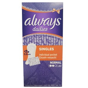 Always dailies singles normal pantyliners 20