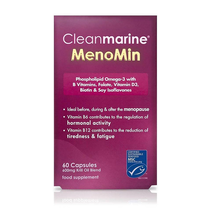 Cleanmarine Menomin Menopause Support 600mg Krill Oil 60 Capsules