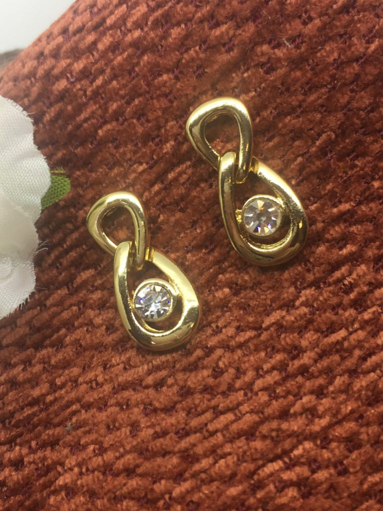 Earsense gold looped earrings with crystal insert