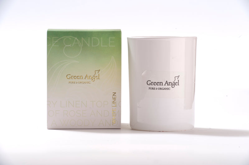 Green angel white linen candle 250g