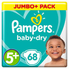 Pampers baby dry jumbo size 5+ junior plus (68 pack)