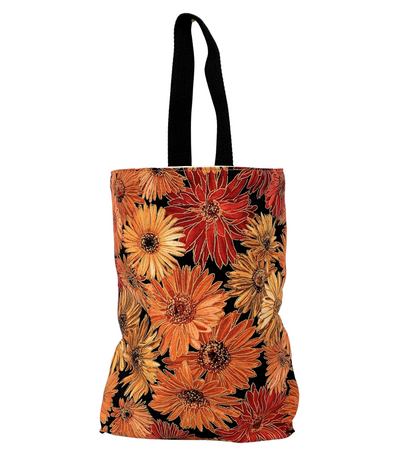 Orange Floral Car Trash Bag - Car Accessory - Soft Wipe Clean Lining Garbage Bag