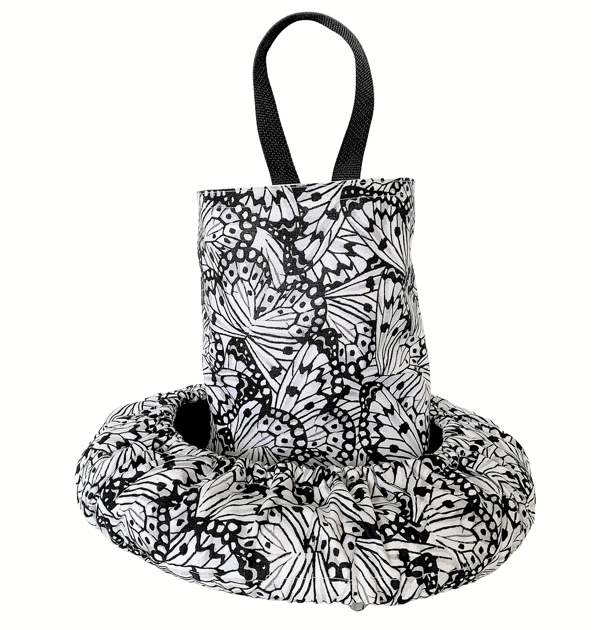 Butterflies Black & White Steering Wheel Cover - Comfy Grippy Wheel Cover