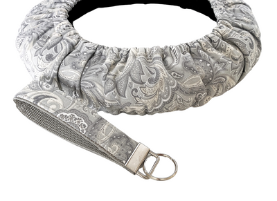 Gray Paisley Steering Wheel Cover-Comfy, Grippy Lined Wheel Cover