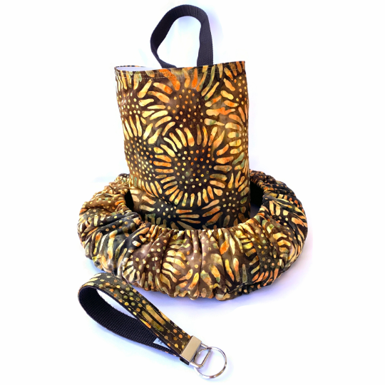 Sunflower Burst Batik Steering Wheel Cover