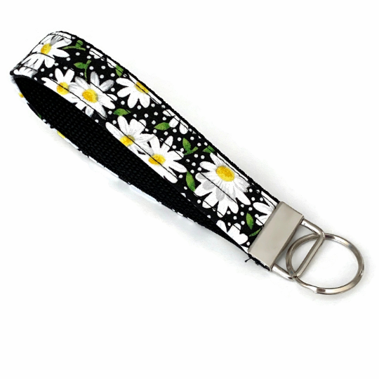 Daisy Black Key Chain Wristlet