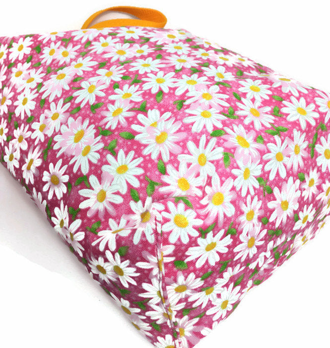 Daisy Pink Trash Bag  for Car- Floral Car Accessory - Lined, Reusable, Multipurpose Auto Garbage Bag