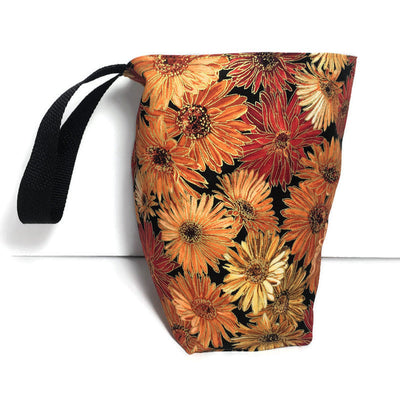 Orange Flowers Car Trash Bag - Car Accessory - Wipe Clean Lined Garbage for Cars - Soft Bag