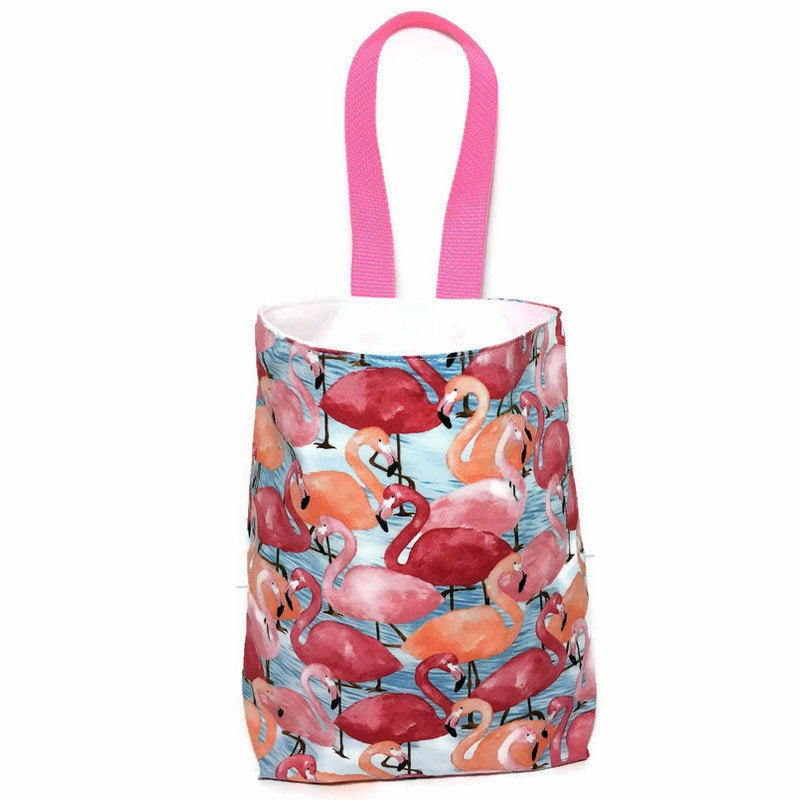 Pink Flamingos Car Trash Bag - Car Accessory - Wipe Clean Lining - Soft Bag