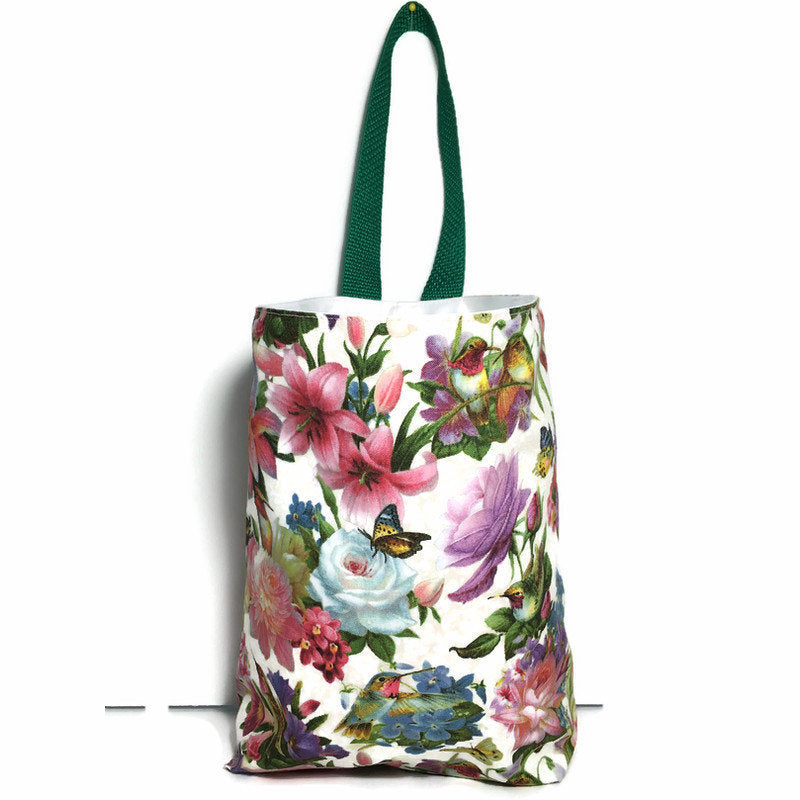 Hummingbird Floral Car Trash Bag - Car Accessory - Lined Car Litter Bag - Soft Bag