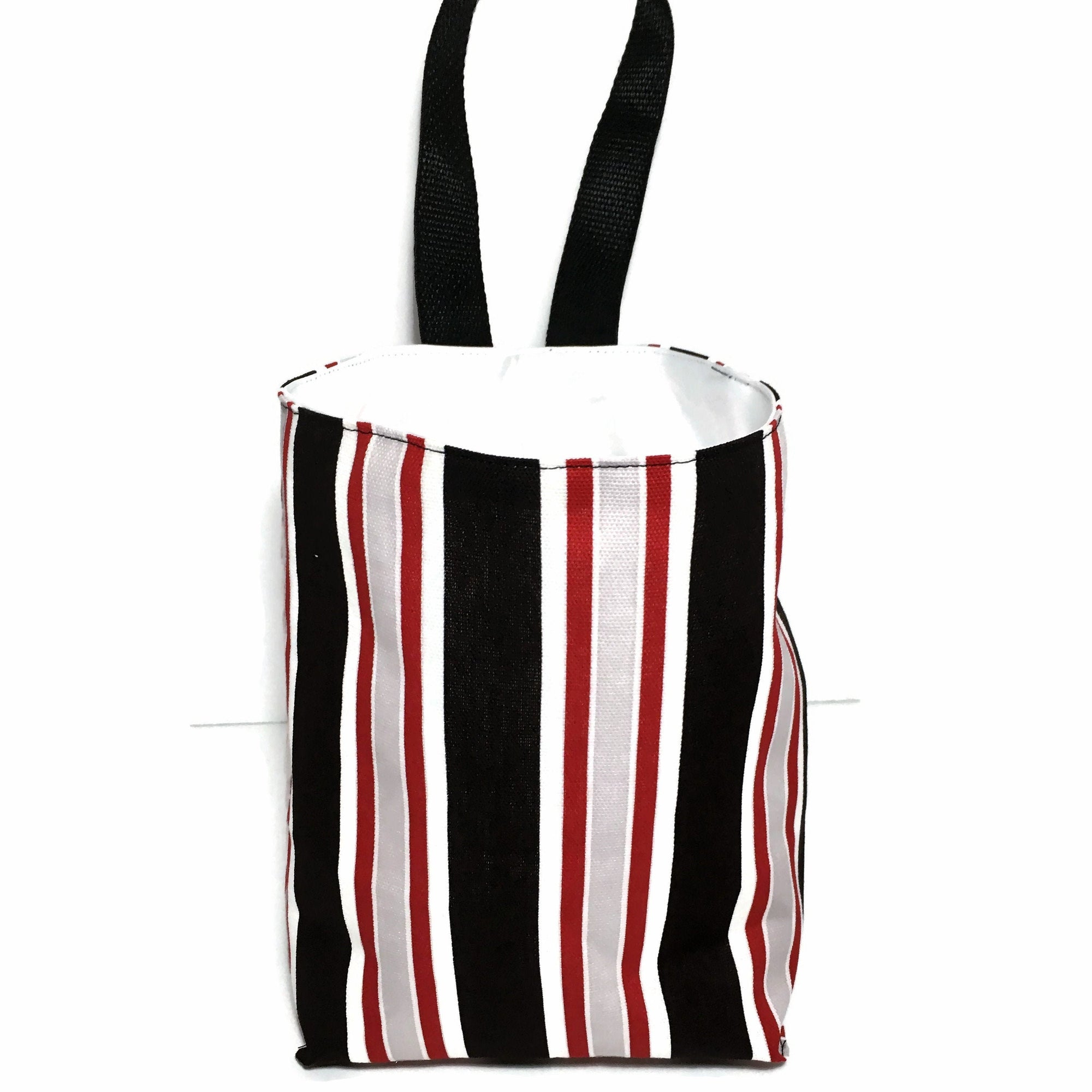 Stripe Car Trash Bag - Car Accessory - Lined for Quick Clean Up - Soft Bag