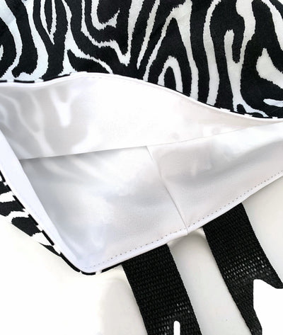 Zebra Black and White Car Trash Bag - Car Accessory - Lined Garbage Bag Wipe Clean LIning - Soft Bag