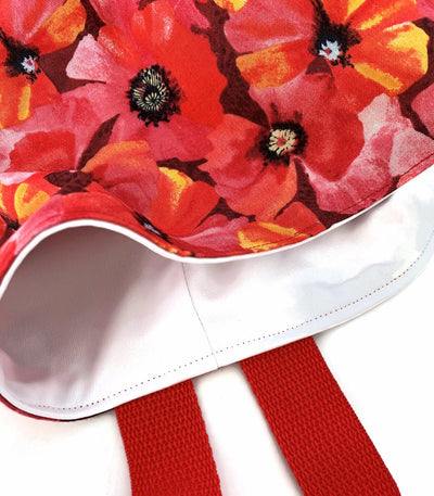 Red Poppy Car Trash Bag - Car Accessory - Lined Wipe Clean Garbage Bag for Car - Soft Bag