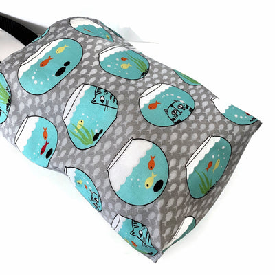 Cats Fish Bowls Car Trash Bag - Car Accessory - Reusable Garbage Bag with Wipe Clean Lining - Soft Bag