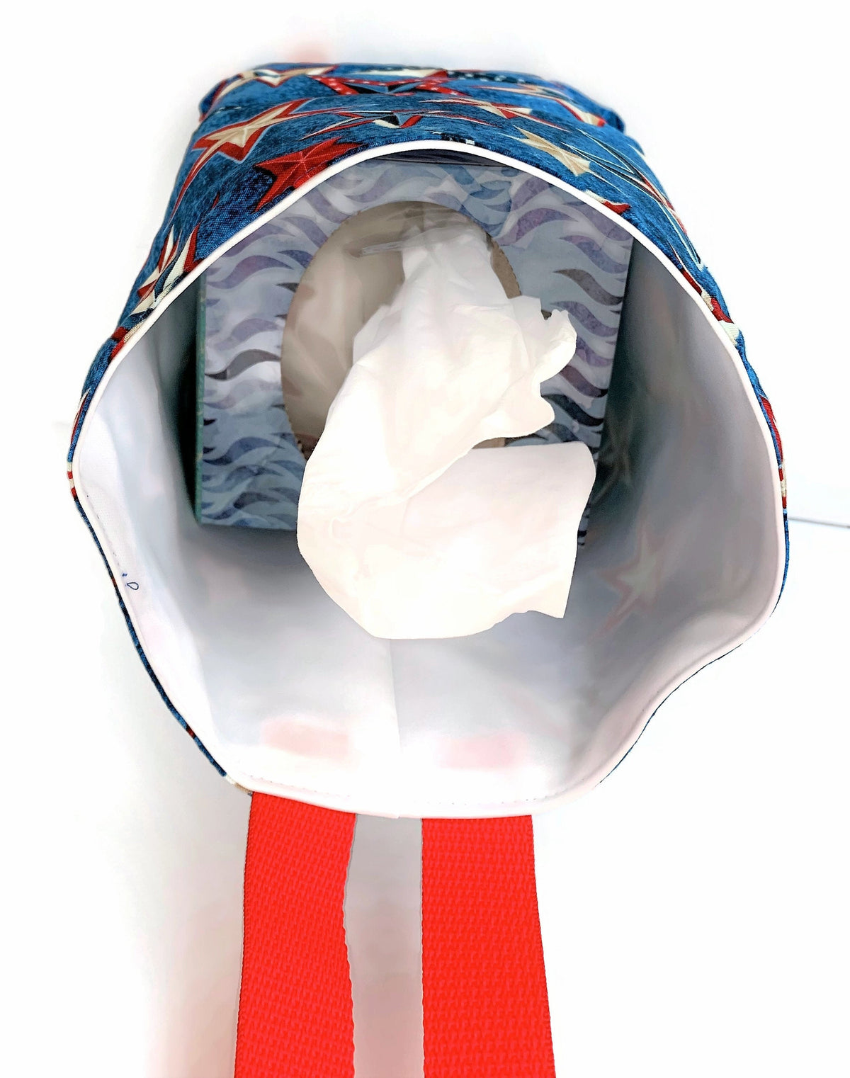 Red White Blue Car Trash Bag - Auto Accessory - Wipe Clean Garbage Bag for Cars - Soft Bag