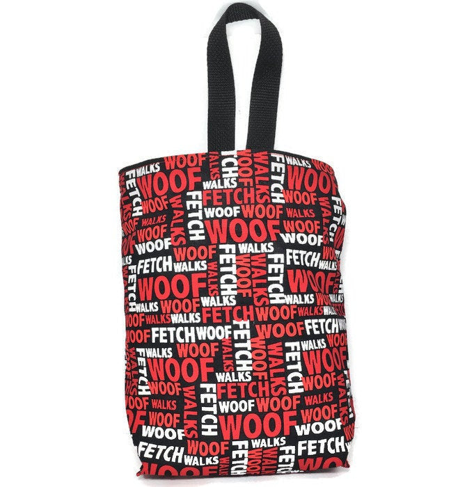 Red Black Dog Car Trash Bag - Lined Wipe Clean Garbage Bag for Cars - Car Accessory - Soft Bag