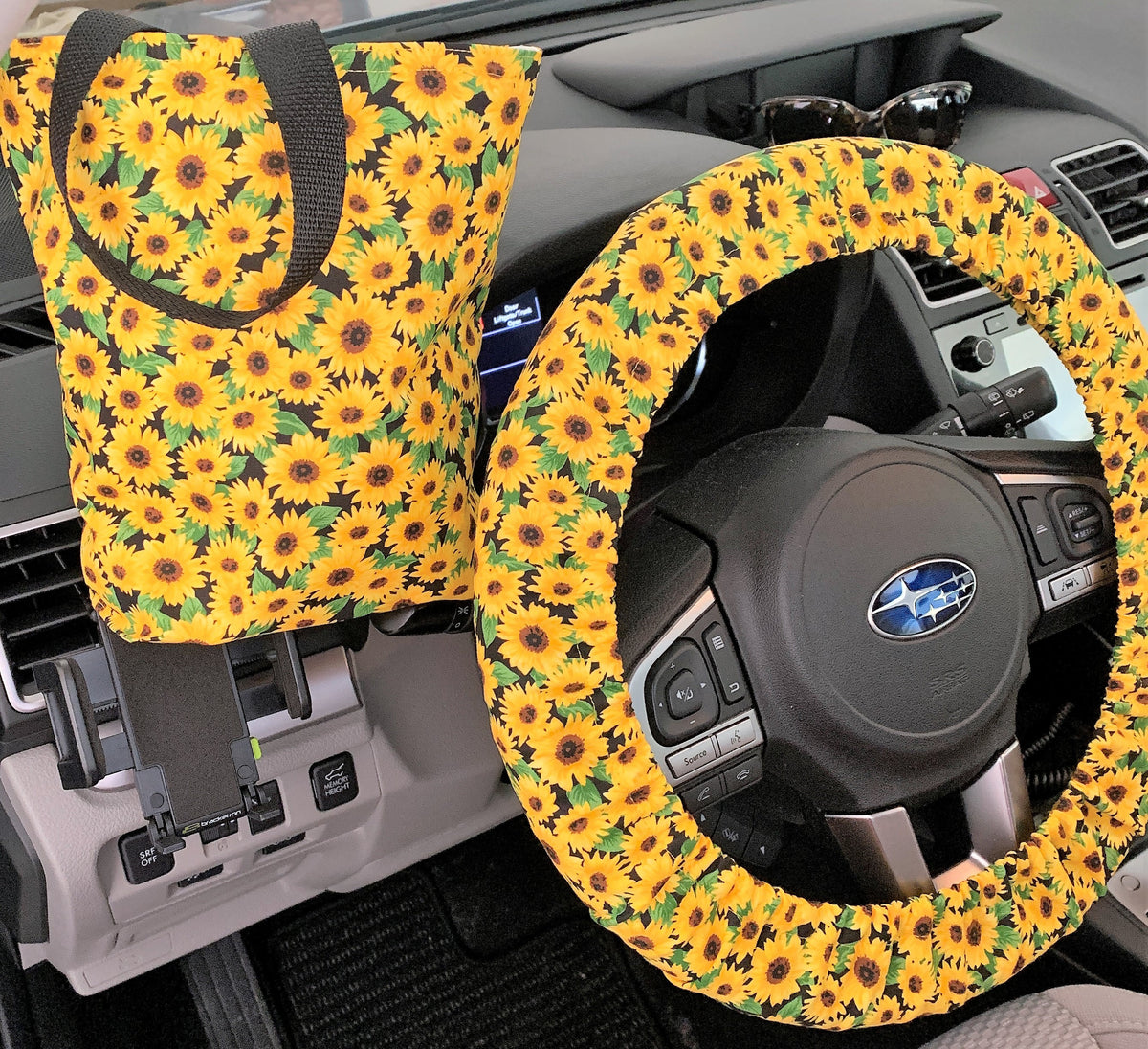 Sunflowers Mini Steering Wheel Cover - Floral Car Accessory - Steer Wheel Cover Women - Options
