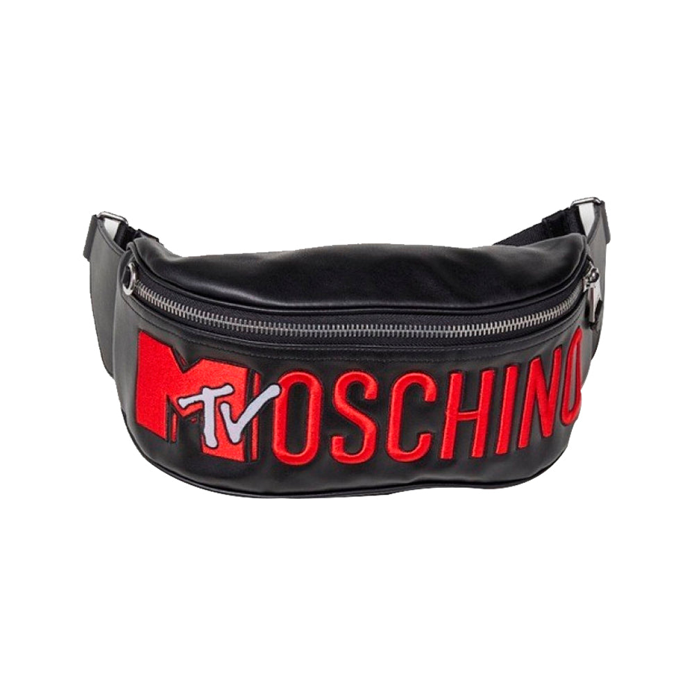 H&M X MOSCHINO MTV EMBROIDERED BELT BAG / BUMBAG - BLACK/RED