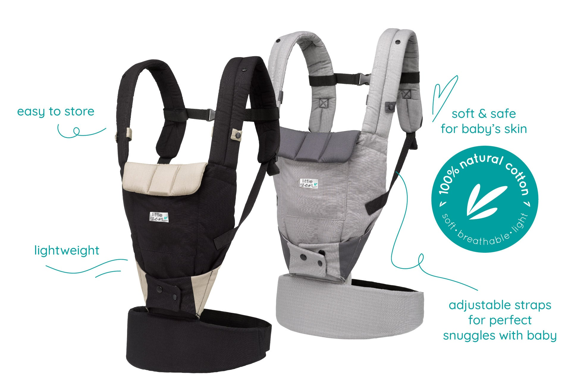 little zen soft baby carrier - soft, breathable, light with 100% natural cotton