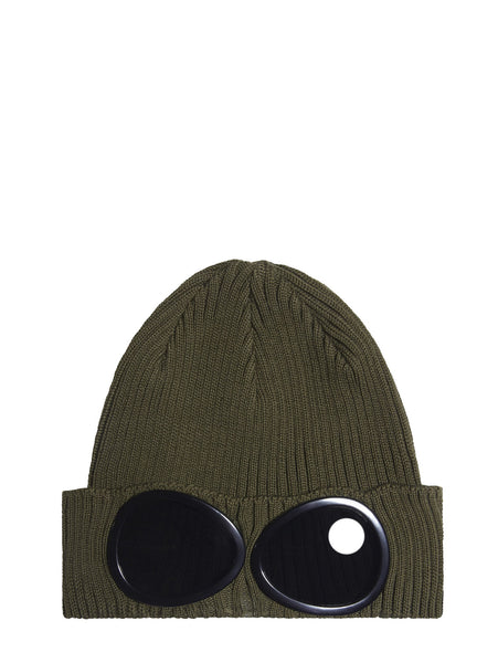 C.P. Company Cotton Goggle Beanie Hat in Khaki