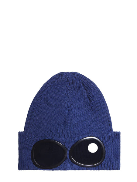C.P. Company Cotton Goggle Beanie Hat in Blue