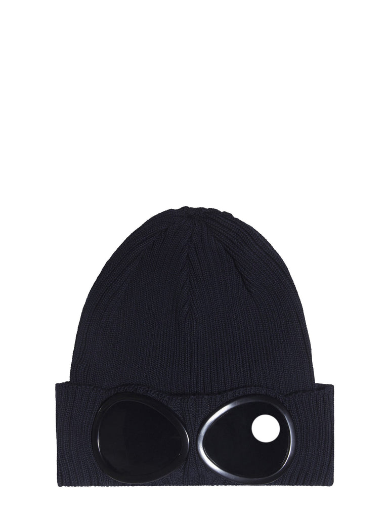 C.P. Company Cotton Goggle Beanie Hat in Navy