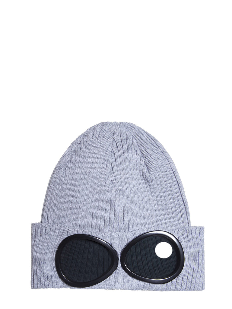 C.P. Company Cotton Goggle Beanie Hat in Light Grey