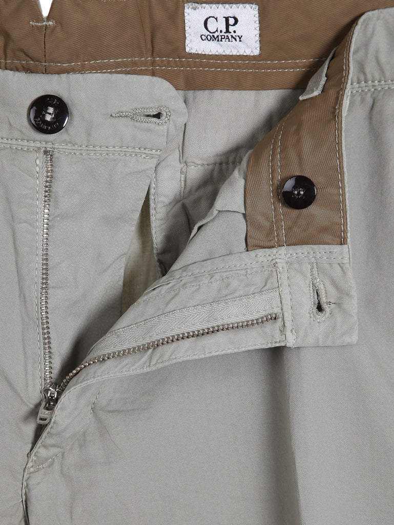 C.P. Company Old Dyed Cotton Gaberdine Shorts in Khaki
