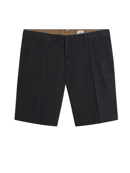 C.P. Company Old Dyed Cotton Gaberdine Shorts in Navy